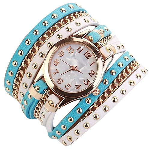 Minetom Damenmode Gewebte Seil Armband Niet-Armband Kristall Runde Quarz Armbanduhr Wristwatch ( Blau-Weiß )