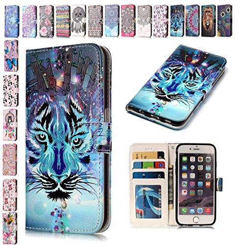 E-Mandala iPod Touch 5 6 Hülle Leder Flip Case Wallet Tasche handyhüllen Silikon 3D Muster Schutzhülle Lederhülle mit Kartenfach Klapphülle Handytasche - Tiger (Ipod-taschen Eule)