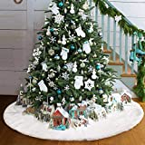 Lomire Baumdecke Weihnachtsbaum Rock Christbaumdecke Rund Weiß Weihnachtsbaumdecke Christbaumständer Teppich Decke Weihnachtsbaum Deko (90cm)
