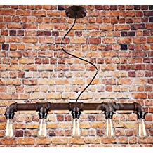 Lámpara de techo con diseño de tubería – Lámpara industrial vintage para crear la atmósfera perfecta en bares, restaurantes, cafés o en el hogar – Lámpara de araña retro/steampunk con 5 luces