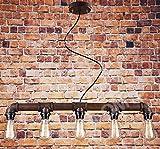 Hängeleuchter Vintage Steampunk Metallrohr: New Edition Retro Hängelampe im rustikalen Industrie-Stil, Edison-Lampe mit bis zu 5 Glühbirnen, dimmbar, zum Aufhängen an der Decke. L: 80cm H: 8cm