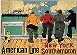Vintage Travel America mit The American Line Southampton to New York von Henri Cassiers, 1900. 250gsm, Hochglanz, A3, vervielfältigtes Poster