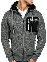 BOLF Herren Kapuzenpullover mit Reißverschluss Baumwollmischung Sweatjacke Hoodie 1A1