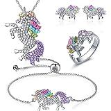 INTVN Collana con Ciondolo Braccialetti Unicorno Orecchini ad anello -Bracciale Collana con Unicorno in Cristallo Arcobaleno