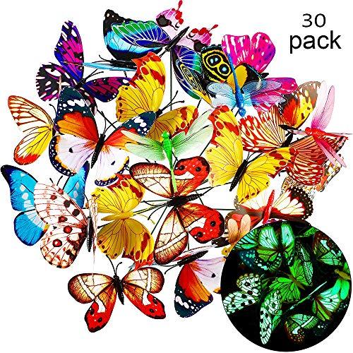Malbuch Kostüm - 30PCS Garten Dekoration Schmetterling , Bunte Garten SchmetterlingeDeko,Patio Ornamente auf Stöcke für Pflanzendekoration, Schmetterling,Outdoor Hof, Garten Dekoration(Leuchtend)