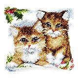 Vervaco PN-0145251 Knüpfkissen Kätzchen im Schnee -