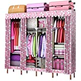 ZC&J Home Schlafzimmer Schließfächer, hochwertige Nylon-Tuch Kleiderschrank, tragbar, Stahlrohr Skelett und versiegelt Staub Kleiderschrank,A,67*67*18inch