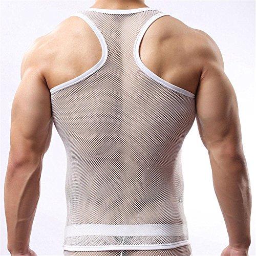 Freebily Herren Netzhemd Männer Netz Hemd shirt kurzarm Oberhemds Unterhemd Wetlook Top fit Clubwear Underwear aus Mesh Weste in Weiß