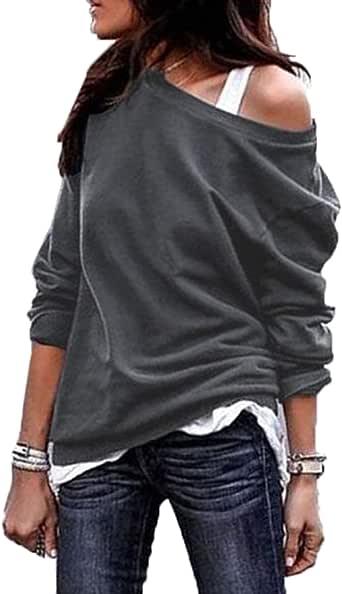 Donne Felpe Primavera e Autunno Moda Obliquo Spalla Maglie a Manica Lunga Cime Sweatshirt Maglione Casual Tinta Unita Tops Pullover Bluse Jumper