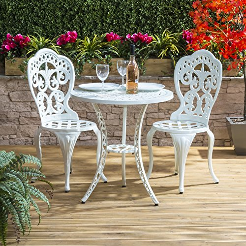 Metal Garden Furniture Sets Uk White metal garden furniture set amazon traditional cast aluminium cafe bistro outdoor garden furniture table chairs set white workwithnaturefo