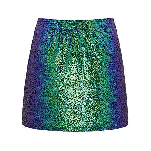 Metme Damen Glitter Rock, Figurbetontes Kleid Stretch Glänzender Minirock Mit Pailletten for Party Blau/Grün, M, EU40 MEHRWEG