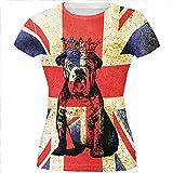 Englische britische Bulldogge Krone Grunge Flagge aller Junioren T Shirt Multi MD