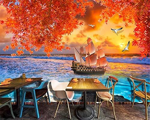 Super-hd-sockel (MuralXW Super Persönlichkeit HD Schöne Tapete Sea Sailing Red Maple TV Schlafzimmer Hintergrund Wall Wallpaper für Wände 3D-400x280cm)