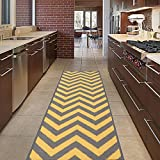 Diagona Designs modernes Chevron Design Rutschfest Küche/Badezimmer/Flur Bereich Teppich Läufer, 78,7cm W x 299,7cm L, gelb/grau