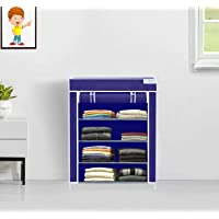 FLIPZON Collapsible Fabric Wardrobe Organizer for Clothes (Iron and Non Woven Fabric) Blue, 4 Layer
