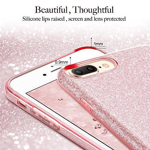 ESR iPhone 8 Plus Hülle, iPhone 7 Plus Hülle, Luxus Glitzer Bling [Glänzende Mode][Ultra Dünn] Designer Schutzhülle [Kabelloses Aufladen Unterstützung] für Apple iPhone 8/7 Plus 5.5 Zoll 2017 Freigege Rose Gold