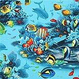 Elizabeth's Studio Türkiser Stoff mit Fischen und Delfinen