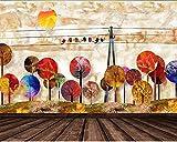 Yosot Papier peint Abstract Woods Vintage Oiseaux 3D Peinture Décorative Papier...