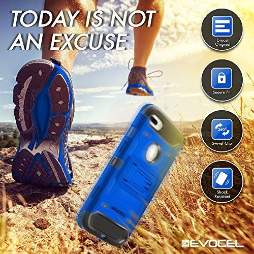 iPhone 7 Plus Case, Evocel [Trio Pro Series] Premium Hybrid Tri-Layer Protector Case [Kickstand][Belt Swivel Clip] For iPhone 7 Plus (5.5 inch), Crimson Red (EVO-IPH7PLUS-HH03) Blue