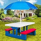 Ensemble de jardin pour enfants table et bancs avec parasol - Salon de balcon - Exterieur