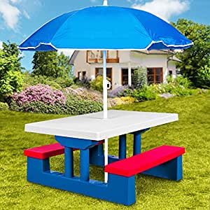ensemble jardin pour enfant table et bancs avec parasol salon de balcon exterieur plastique. Black Bedroom Furniture Sets. Home Design Ideas