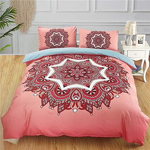 BestBed Jacquard Floral Bettwäsche Tröster Set Mandala Datura ethnischen Bettbezug Set mit Kissenbezug Bohemian Microfiber Bedding Quilt (Color : Pink, Size : 229X229cm) -