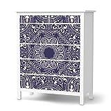 creatisto Möbel-Folie Sticker für IKEA Hemnes Kommode 6 Schubladen | Deko Dekor Möbel-Tattoo | Inneneinrichtung renovieren Home Deko | Design Motiv Blue Mandala