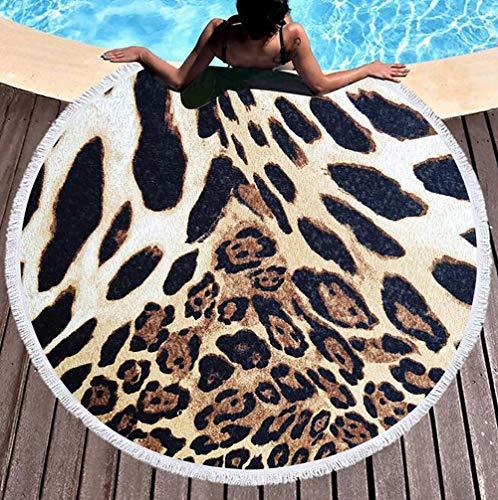 andtuch Werfen Tapisserie Hippie Tier Pelz Leopard Drucken Tischdecke Runden Gobelin,Yoga Matte,Surfen,Schwimmen,I ()