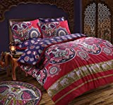 Bohemian Indian / Ethnic Elephant Duvet Cover Set with Pillowcases Pink or Blue Bedding Set (Pink, Double Bed)