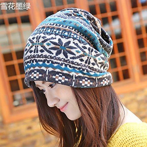 Chapeaux bonnet turban Baotou Wai Cor¨¦en ¨¦tranglement du pieu sur le sous-cap windproof ¨¦pais) Kit,M(56-58cm) T¨ºte Noire,Sorok Dark green snowflake