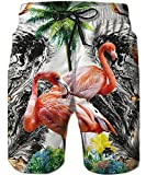 TUONROAD Beach Shorts Men Summer Doule Flamingo Colorful Flowers Mens Bathing Suits Funny Patterned Swim Trunks Brazilian Swim Shorts Beach Shorts