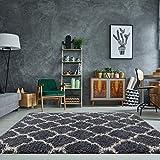 Tapis de salon contemporain agréable luxueux à poils longs crème gris, motif en treillis - Helsinki 80cm x 150cm (2'7' x 4'11')