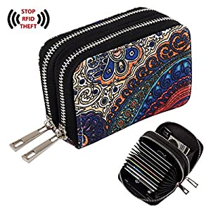 Te-Rich Womens Wallets RFID Blocking Primely Canvas Coin Purse - Identity Protection Credit ID Card Pouch - Twin Metal Zippers, Bohemian Style