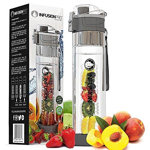 Infusion Pro Wasser-Ei-24Oz Obst Infused Wasser Flasche | Premium auslaufsicher Tritan Kunststoff mit Boden Design | Flip Top-Arretierung Auslauf mit Neopren isoliert Sleeve & Sieb, anthrazit -