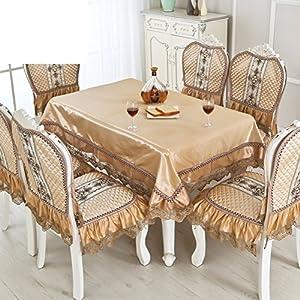 QQT Tischdecke Passt,Längliche Tischdecke Stil Stuhlhussen Esstisch Set Bank  Gedeckten Tisch,Stuhl Bezugsstoff