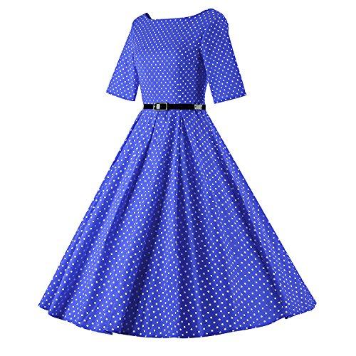 LUOUSE Audrey Hepburn 1/2 Sleeve 1950er Vintage Rockabilly Kleid V075-DotBlue