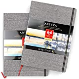 ARTEZA Bloc de dibujo con papel de acuarela   DIN A4   Pack de 2   64 págs x 2   Grosor 230 gsm   Encuadernados en lino   Cinta...