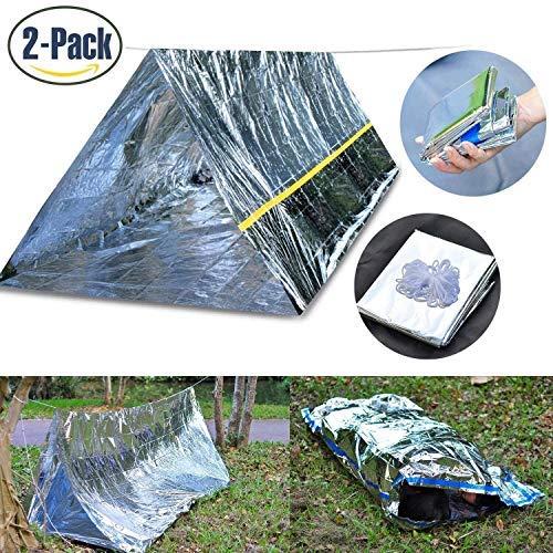 Tenquan Notfall-Survival-Set, Notfall-Schutzzelt und Notfalltasche – Super leichtes Raumdecken-Material reflektiert und speichert 99% Körperwärme für Camping, Wandern, Reisen oder Abenteuer