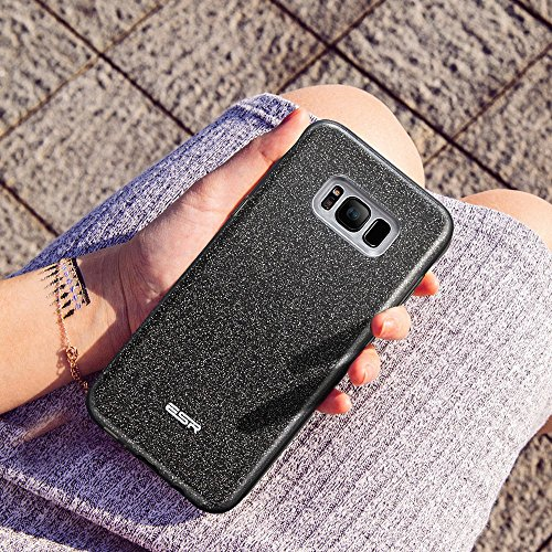 Samsung Galaxy S8 Hülle ESR® Glitzer Hybrid Schutzhülle [Drei Schichten in einem] [Weiche TPU Abdeckung + Glitzer Papier + PP innere Schicht] iPhone 7 Plus Bumper Case Hülle für Samsung S8 Schwarz Schwarz