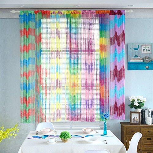 Ouneed® Gardinen , 1 Stücke 100cmx200cm String Vorhänge Patio Tür Fly Screen Zimmer Divider Tür Fenster Fransen Vorhänge (B) - Screen-möbel