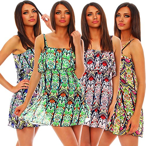 3873 Fashion4Young Damen Minikleid mit Bandeau-Abschluss Kleid dress 4 Farben Chiffon Print Rot Multicolor