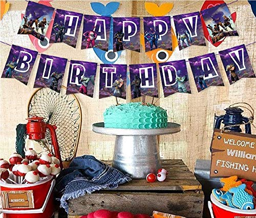 ko Wimpel Girlande , Fortgame Fans Kollektion Wimpelkette 15 Banner & 12 Cupcake Toppers , Kuchen Dekoration Party Supplies ()