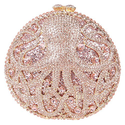 Santimon Clutch Delle Donne Carina Polipo Borsellini Strass Diamante Cristallo Borse Da Festa di Nozze Sera Con Tracolla Amovibile E Pacco Regalo 5 Colori champange