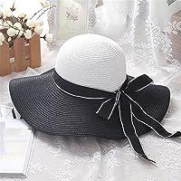 Sombrero de Paja de Verano Sombrero de Pescador de Verano Sombrero de ala Ancha de Playa Blanco y Negro