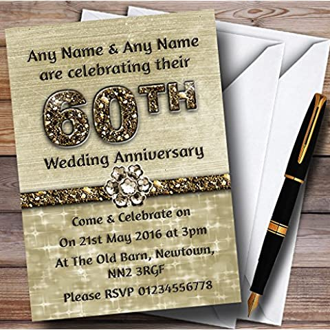 Titanium oro brillante 60Th personalizable aniversario fiesta invitaciones/invita y sobres, 40 Invites & Envelopes
