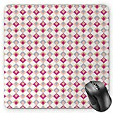 HYYCLS Retro Mauspads, Checkered Pattern Squares in Different Soft Colors with Linked Diamond Shapes, Standard Size Rectangle Non-Slip Rubber Mousepad, Pink Peach Khaki