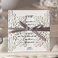 ColorMaxInvitaciones de boda, cortadas a láser, con lazo y decoraciones huecas (Juego de 20)