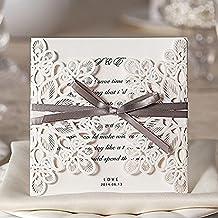 ColorMax Invitaciones de boda, cortadas a láser, con lazo y decoraciones huecas (Juego