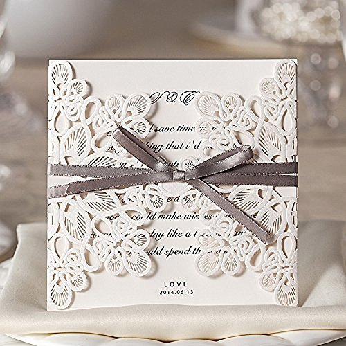 Vstoy - inviti da matrimonio con fiocco, taglio a laser, confezione da 20