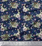 Soimoi Blau Baumwolljersey Stoff Blumen, Kaninchen und